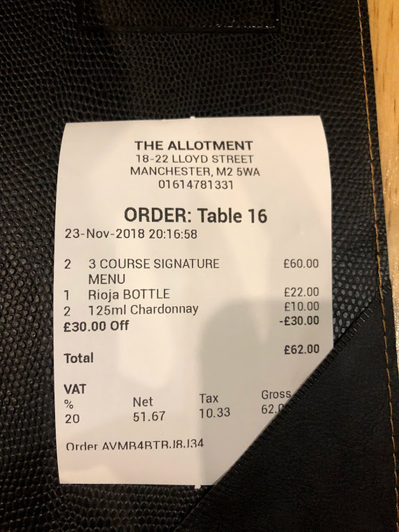 2018 12 13 Allotment Vegan Receipt