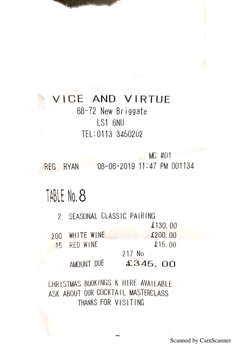 2019 07 16 Vice And Virtue Receipt