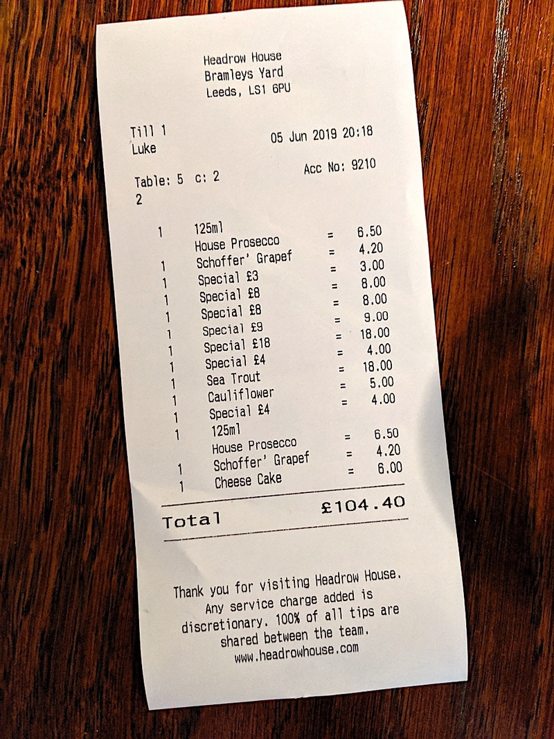 2019 08 19 Ox Club Leeds Receipt
