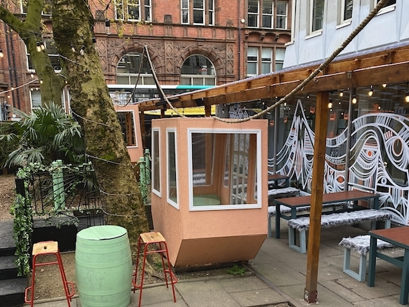 Cable Car Style Booths At Mala Secret Beer Garden Manchester Northern Quarter