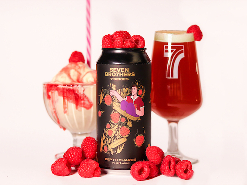 Seven Brothers Brewery Manchester Depth Charge Raspberry Beer In Can And Glass