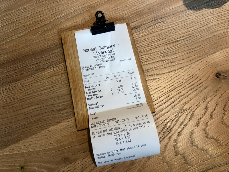 2019 09 10 Honest Burgers Liverpool Receipt
