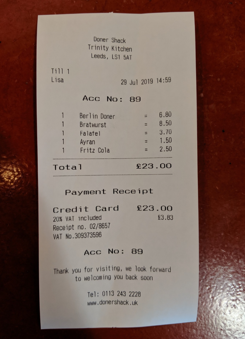 2019 09 17 Doner Shack Review Receipt 1