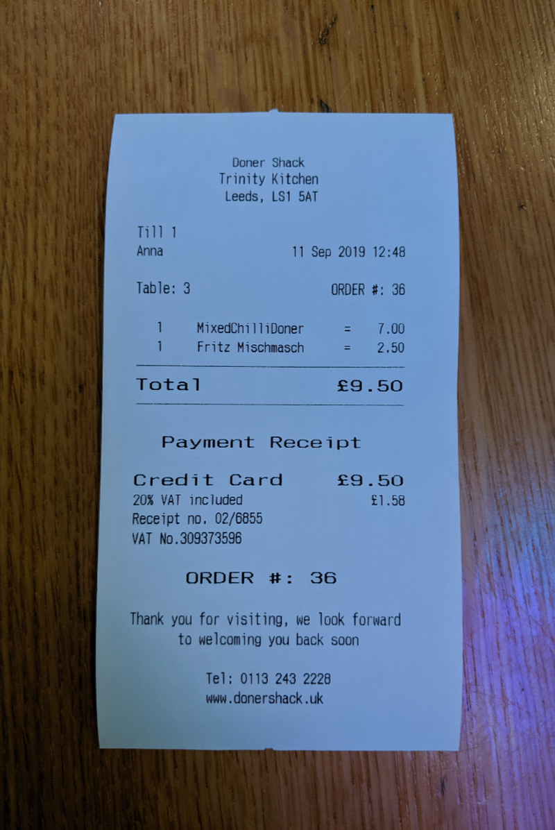 2019 09 17 Doner Shack Review Receipt 2
