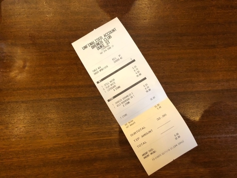 2019 11 12 Brunch Club Receipt