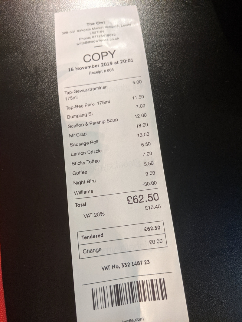 2019 11 17 The Owl Leeds Receipt