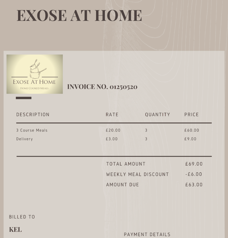 2020 04 01 Exose At Home Receipt
