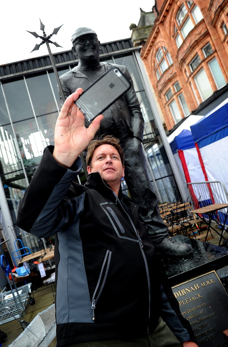 James Martin At The Fred Dibnah Statue