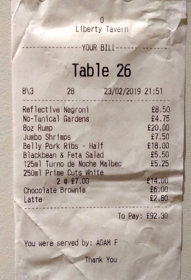 2019 03 01 Liberty Tavern Woolton Review Lt Receipt Va