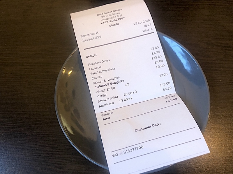 2019 05 07 Bold Street Coffee Receipt
