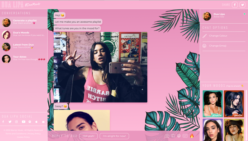 2018 08 09 Dua Lipa Launches Chatbot With Manchester Agency 2