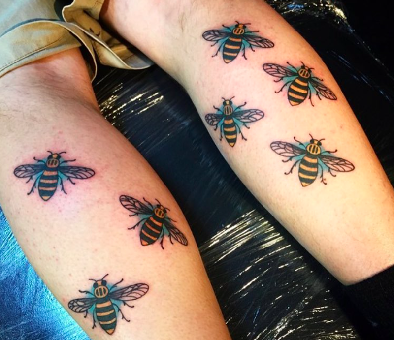 A defiant manchester responds to terror the only way it for Bee tattoo manchester