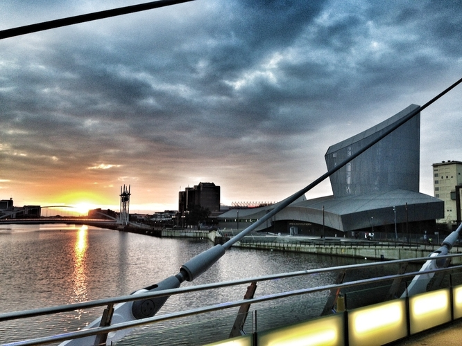 Salford Quays 180628 Quays Walk Q1A Dawn Over Salford Quays