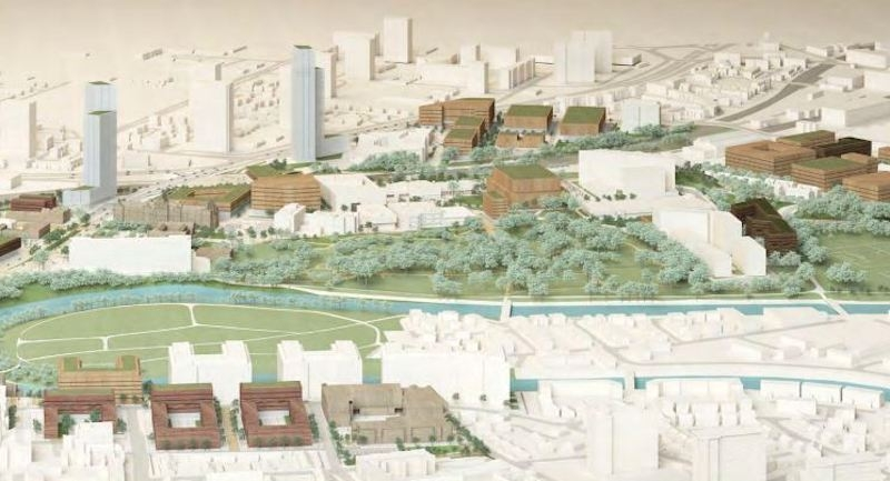 2018 08 09 Salford Crescent Masterplan Crescent Masterplan From The East Showing The Meadows And Peel Park