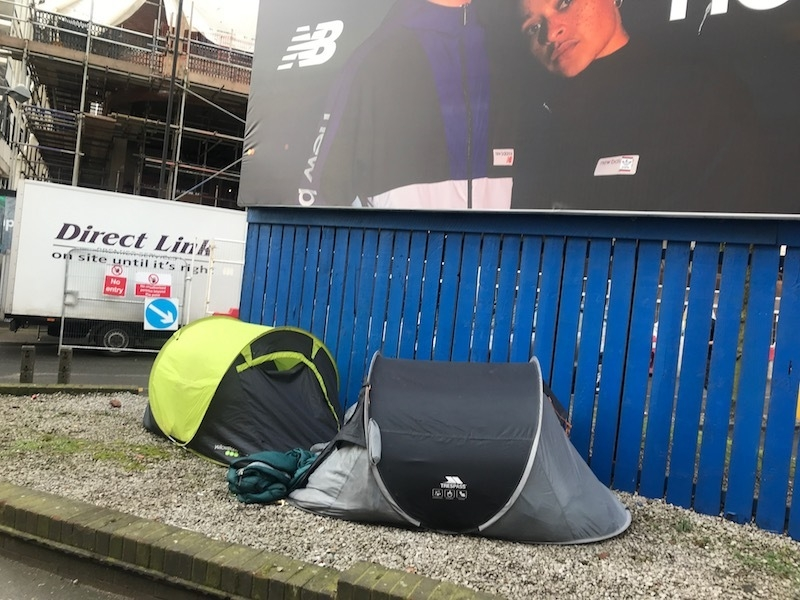 Tents Manchester Homeless Begging