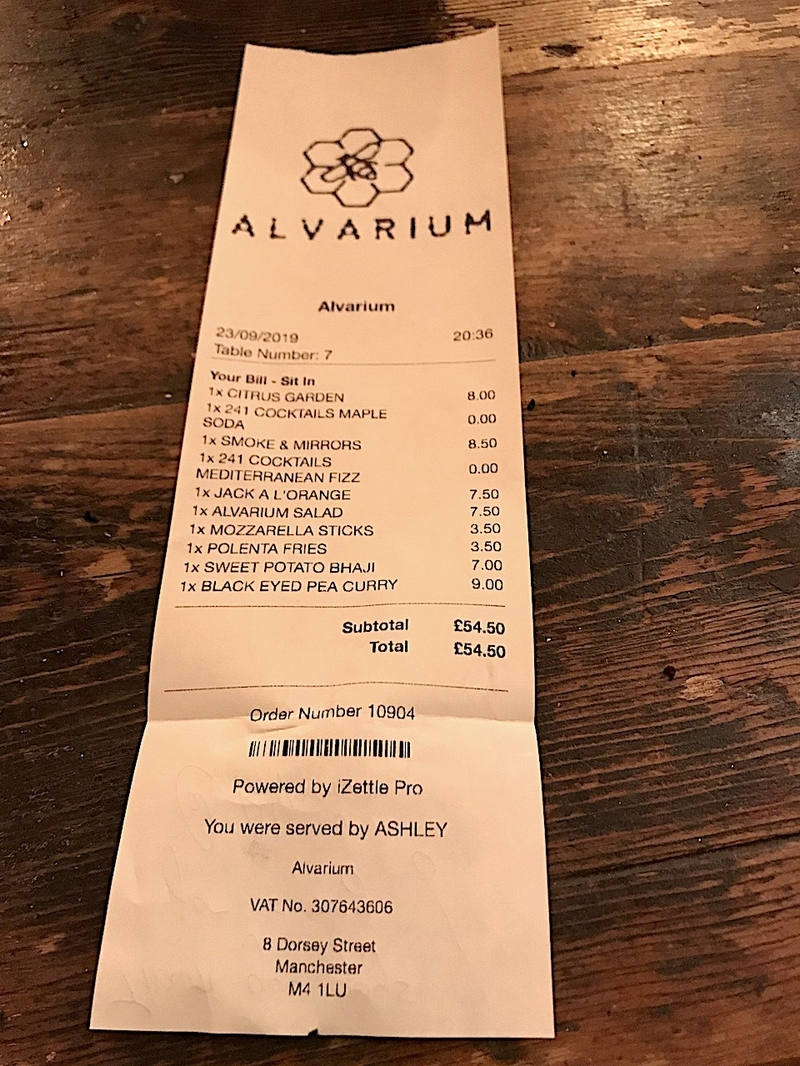 2019 10 12 Alvarium Receipt