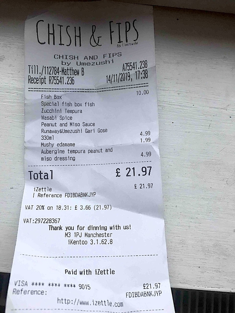 2019 11 26 Chish And Fips Receipt 2