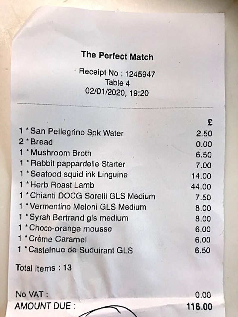 2020 01 06 Perfect Match Receipt