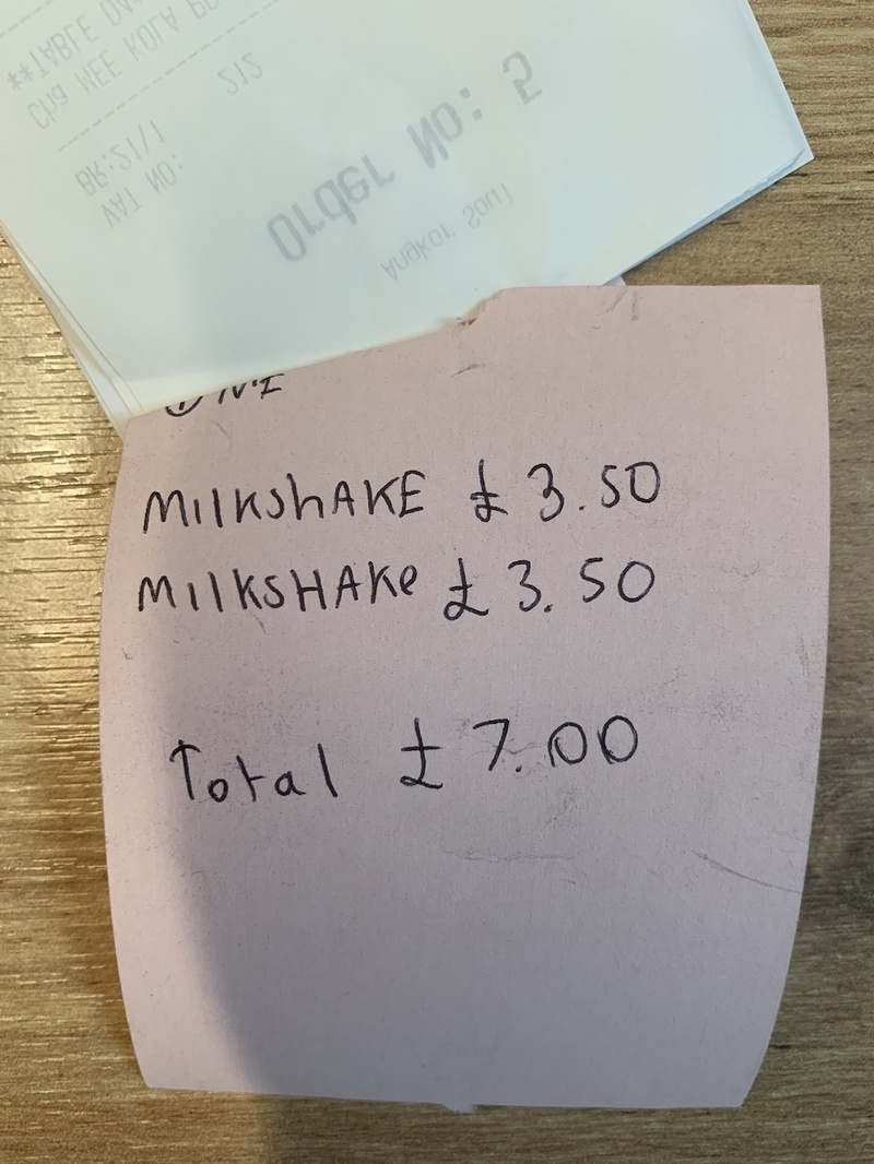 2020 02 02 Mad Giant Milkshake Receipt