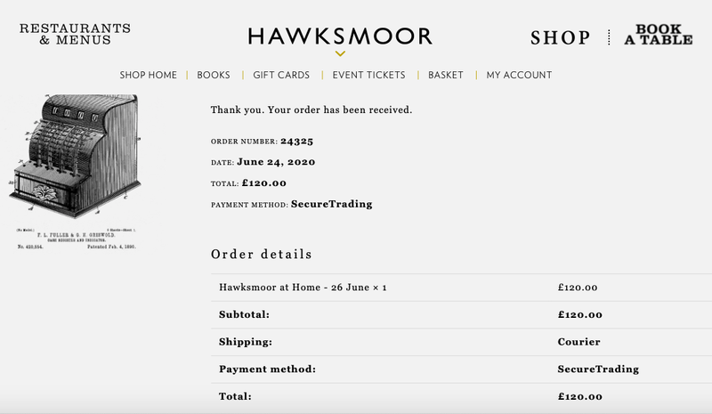 2020 07 06 Hawksmoor At Home Receipt