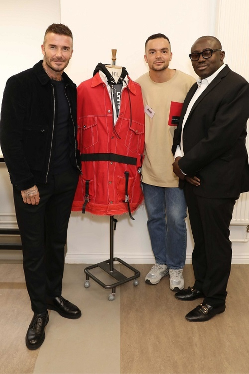 18 05 14 David Beckham And Edward Enniful With Jacob Kane Manchester School Of Art Fashion Design Graduate And Bfc Scholar Image Darren Gerrish And @britishfashioncouncil 1