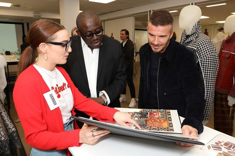18 05 14 David Beckham And Edward Enninful Shown Student Work By Hannah Bentley Ba Fashion Design And Technology Menswear Image Darren Gerrish And @britishfashioncouncil
