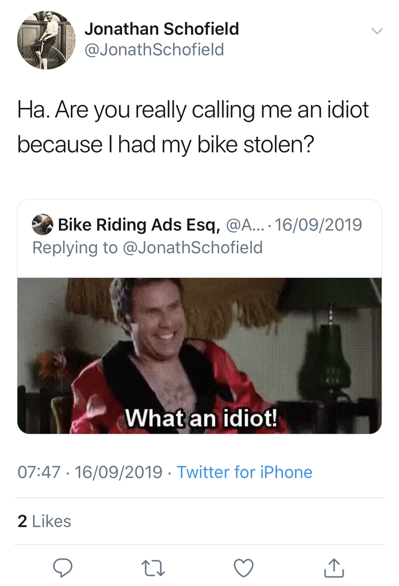 2019 10 01 Bike Theft Tweet