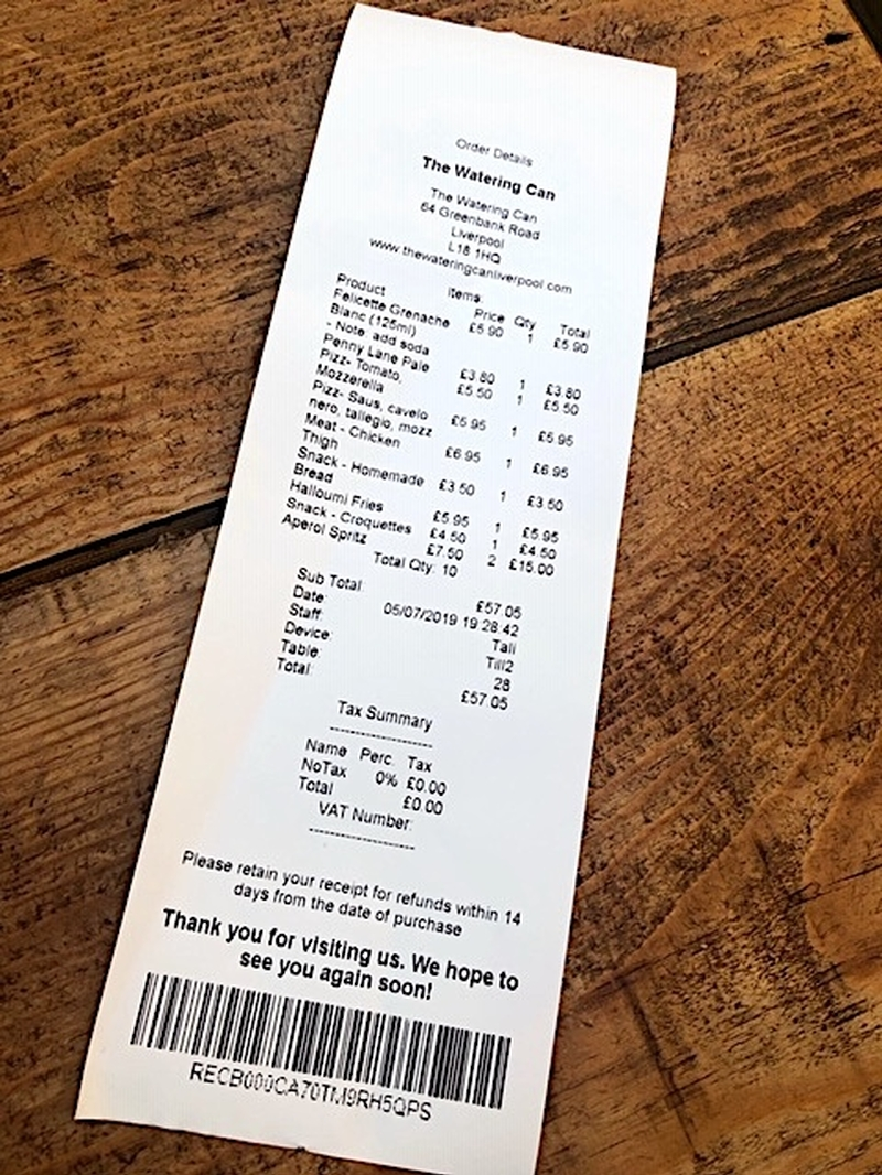 2019 07 05 Watering Can Receipt