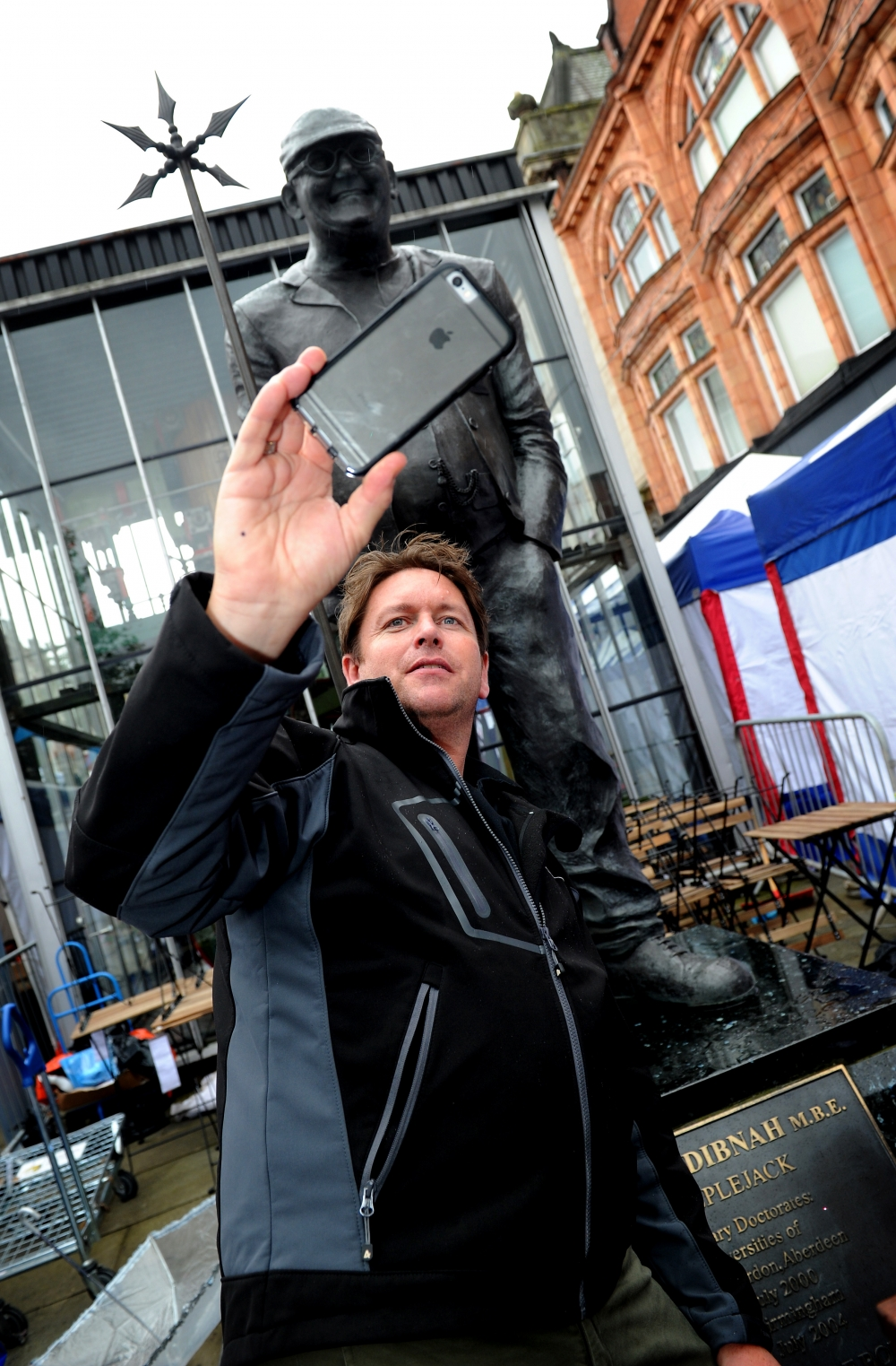 James Martin Taking A Selfie At The Fred Dibnah Statue In Bolton