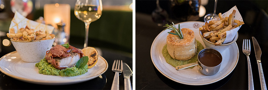 Masons' serrano wrapped cod with mushy peas + Manchester cheese pie