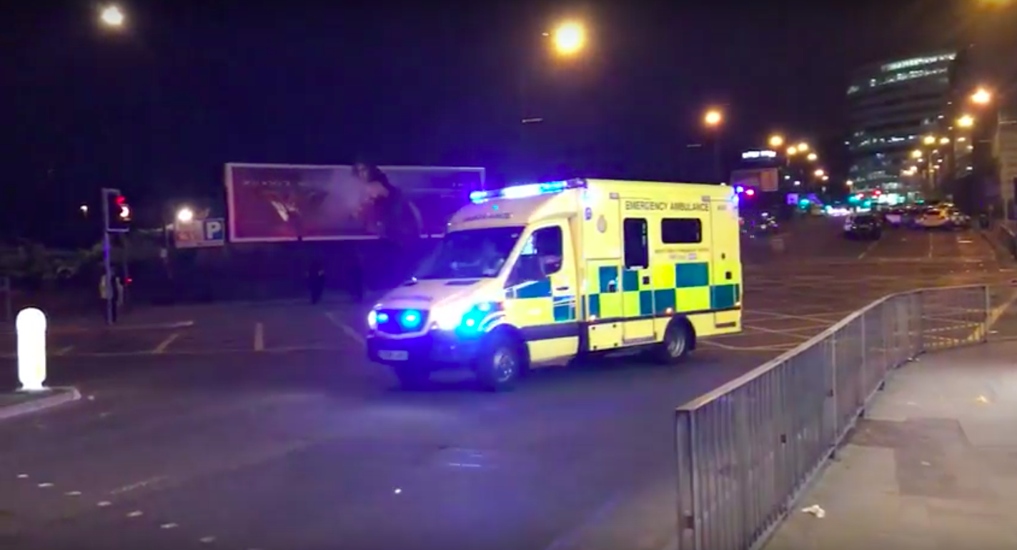 Ambulance outside Manchester Arena on Monday night - 22 died and dozens more were injured